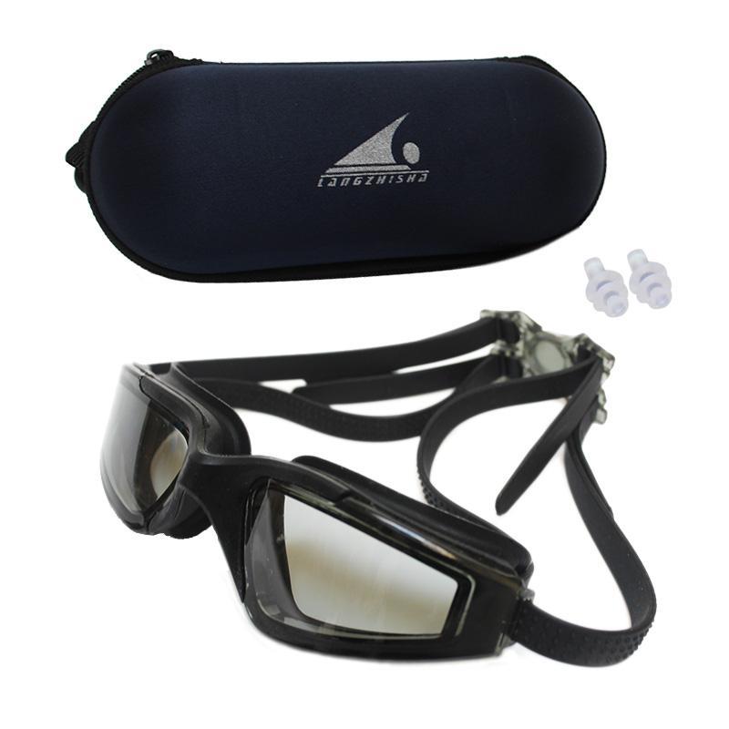 EELIC 780 Hitam Kacamata Renang Dewasa Anti Radiasi Matahari dan Tidak mudah berembun dengan ukuran agak lebar serta nyaman dan mudah di pakai
