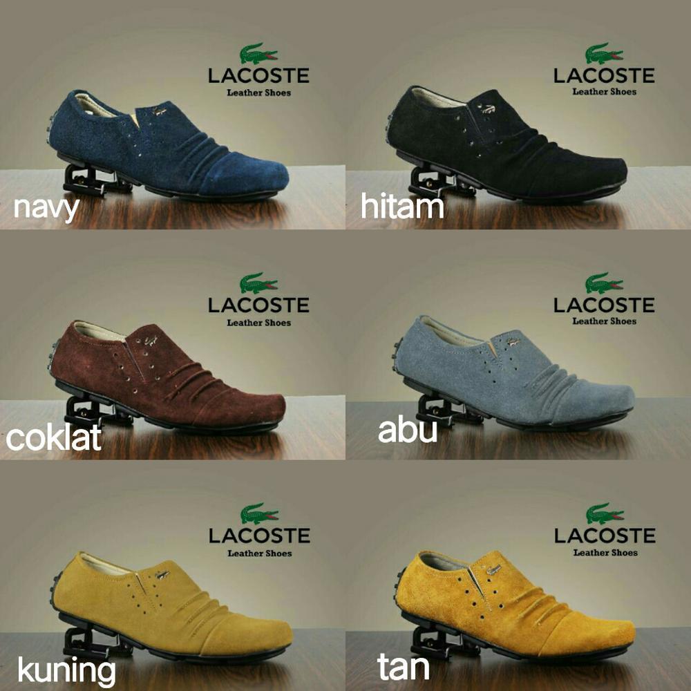 Promo Best Seller Sepatu Slip On Lacoste Pria Santai Semi Formal Kulit Suede Slop Cowok Murah Crocodile Kickers Casual Sneakers Fashion