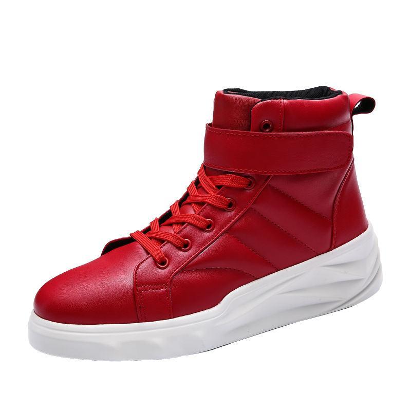 Tinggi Negara Dari Gaya Korea Dari Hantu Tinggi Atas Sepatu Pria Sepatu Sepatu Putih (Merah)