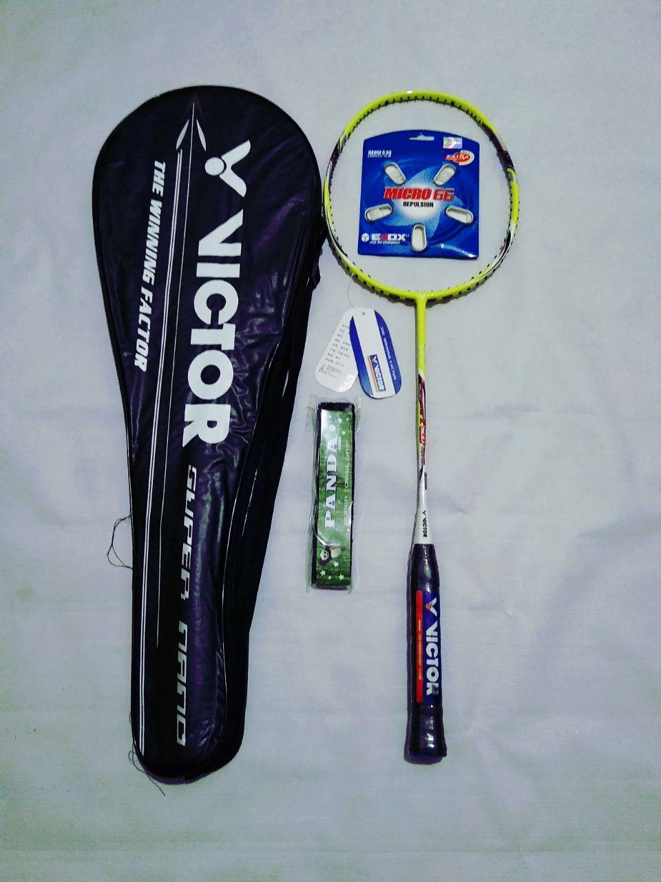 Raket Badminton Victor Hypernano X-500 + Bonus Lengkap (Senar +Tas + Grip)