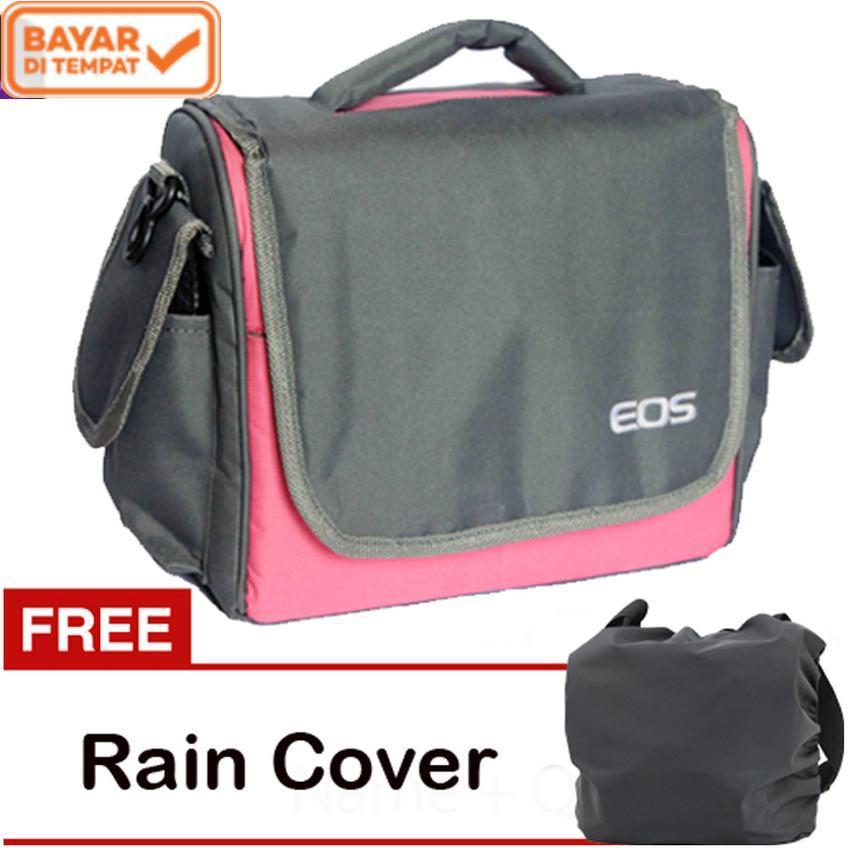 Eos Tas Kamera DSLR Mirrorless Canon 2 Lensa - Pink kode UT + Gratis Rain Cover