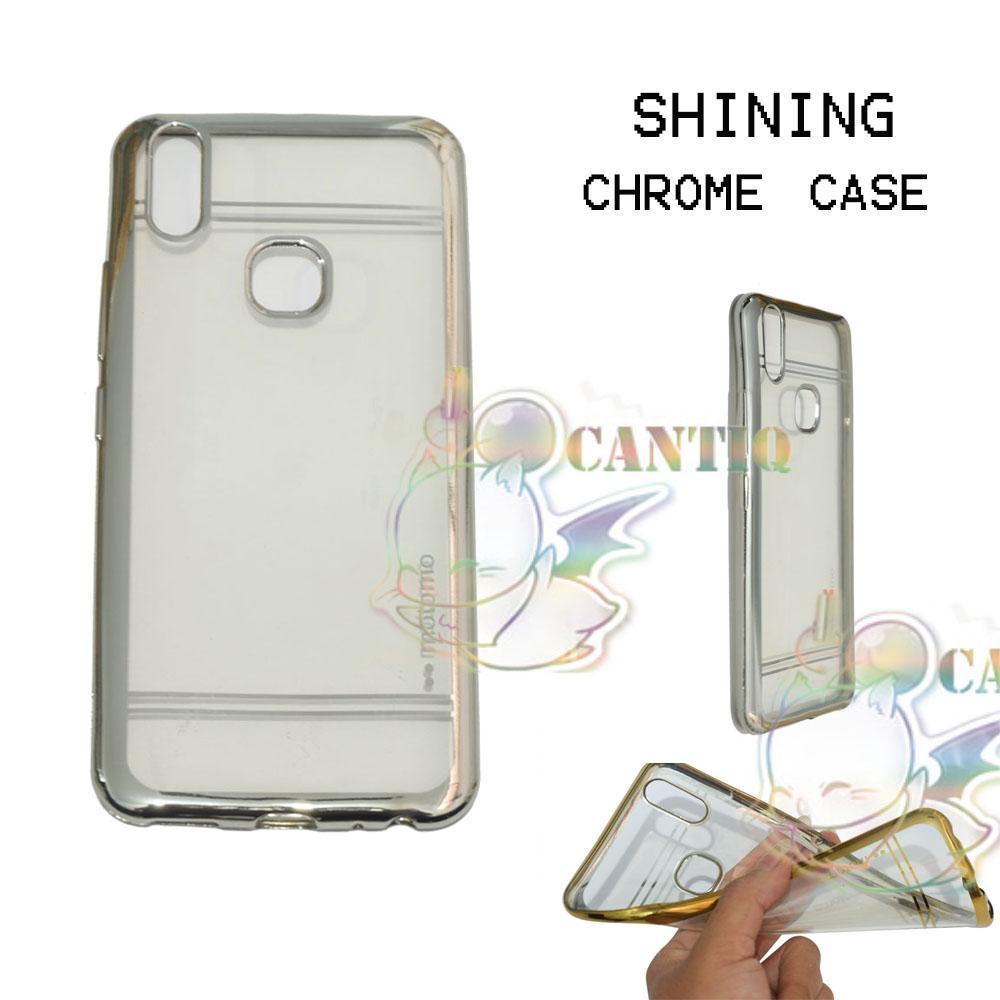 Motomo Chrome Soft Case Vivo V9 / Silikon Vivo V9 Shining Chrome / Tpu Jelly Ultrathin Vivo V9 Ring Glossy / Softshell Vivo V9 / Case HP / Case Unik ...