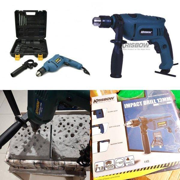 mesin bor impact drill koper set KRISBOW bor 13mm bor 13mm untuk tembok beton besi kayu