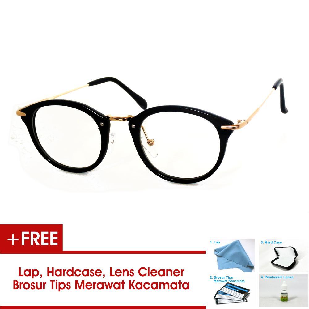 Frame Kacamata Wanita FWNT Bulat 8937 Hitam Emas Bisa Dipasang Lensa Minus Di Optik Terdekat
