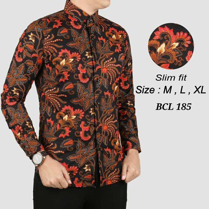 Batik Slimfit Tangan Panjang Pria BCL 185-Hitam