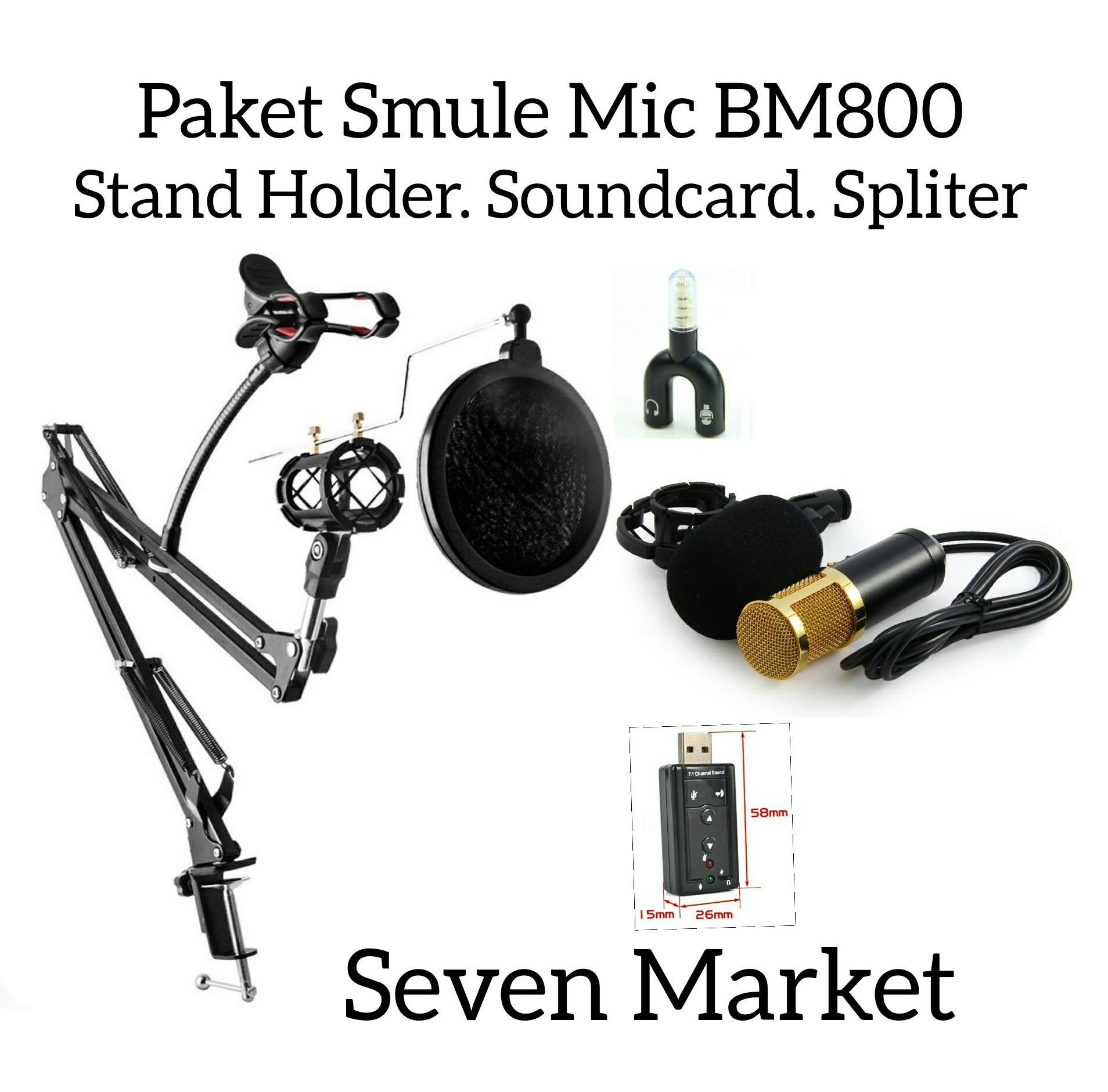 Paket Smule Mic Condensor BM800. Stand Holder. Soundcard. Splitter