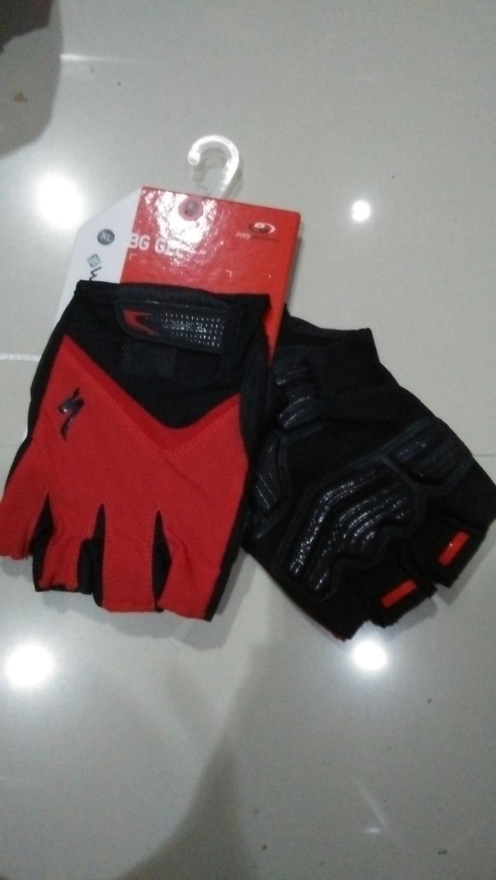 ORIGINAL  Sarung Tangan Half Specialized Merah List Hitam