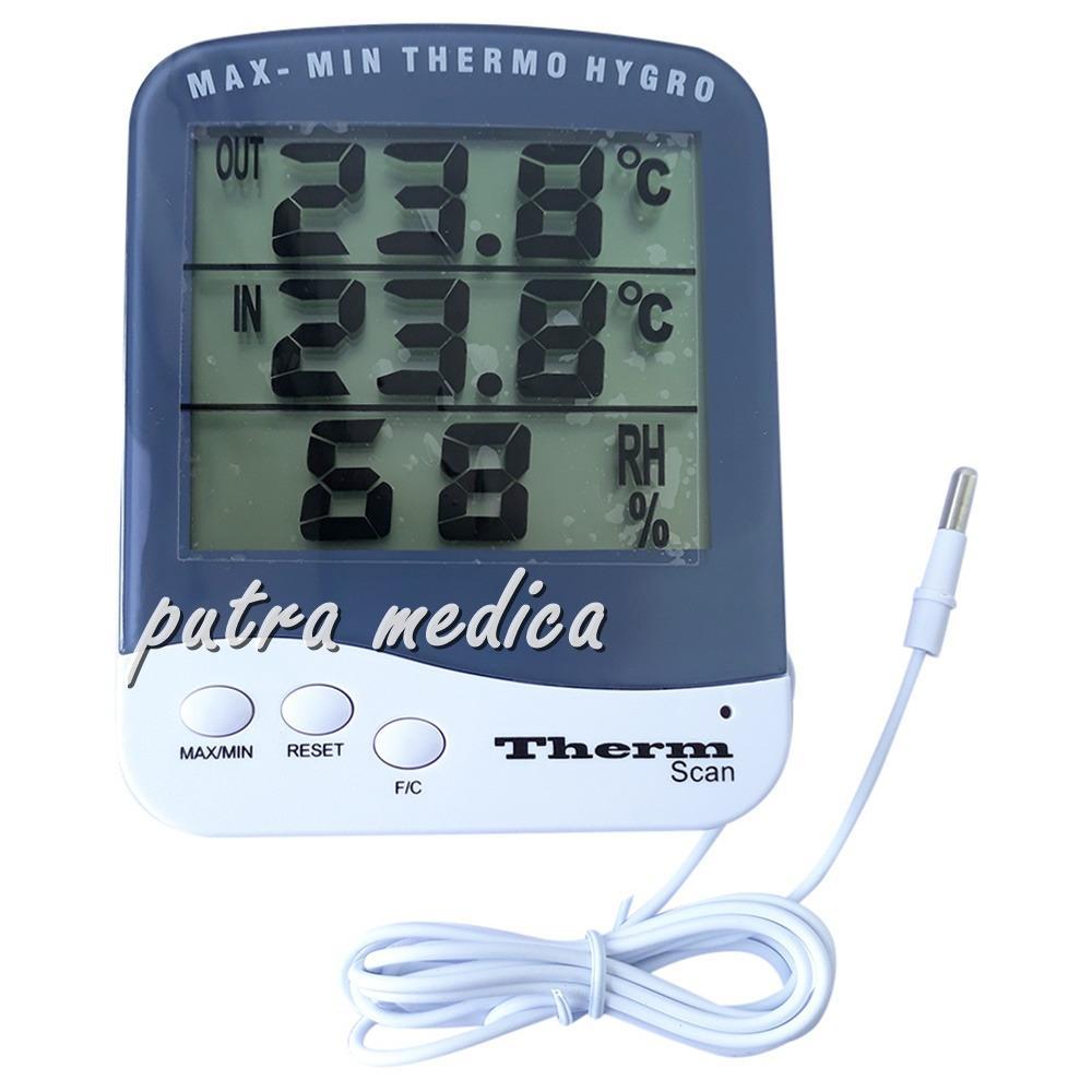 Putra Medica Termometer & Higrometer Digital dengan Memori / Thermometer Hygrometer / Alat Ukur Pengukur Suhu Ruangan dan Tingkat Kelembaban