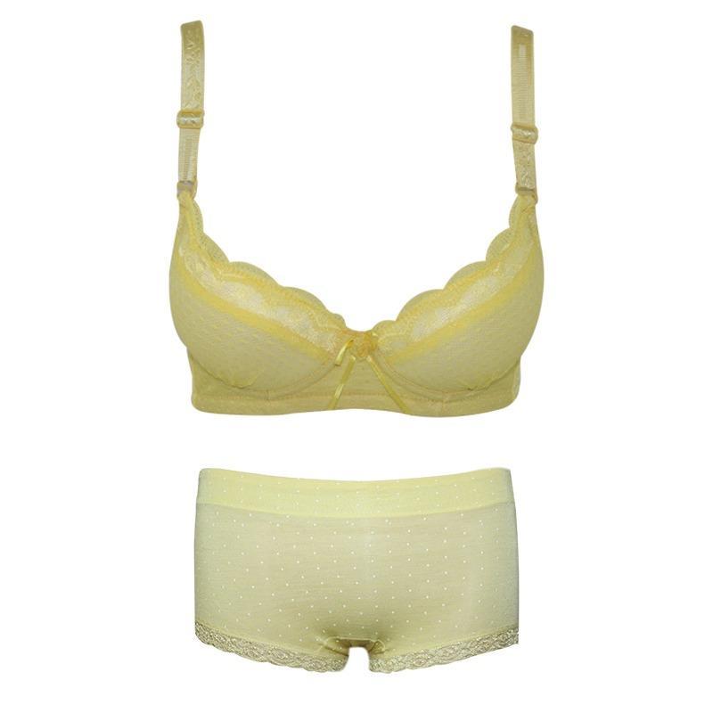 EELIC PDW-11052 SET KUNING 1 SET Pakaian Dalam Wanita BRA 1101 + Celana Dalam Wanita CDW-1752 MOTIF RENDA POLKADOT