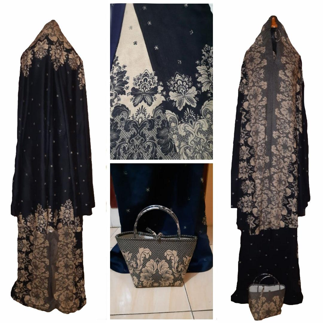 Grateful Fashion Mukena Dewasa BCL Batik Malang - Hitam - High Quality 1