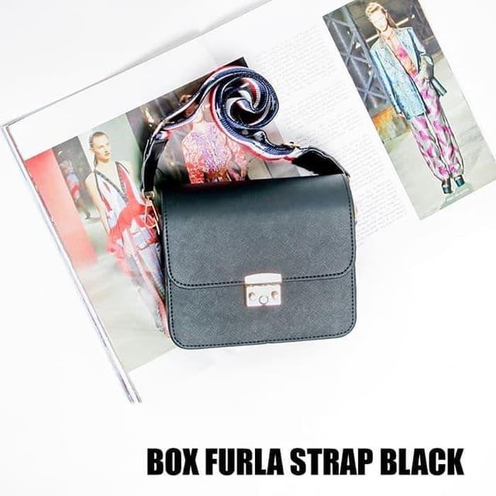 Box Furla Strap Black - Sling Bag - Tas Wanita - Tas Ransel - Tas Selempangan - Tote Bag - Tas Murah - Tas Lucu