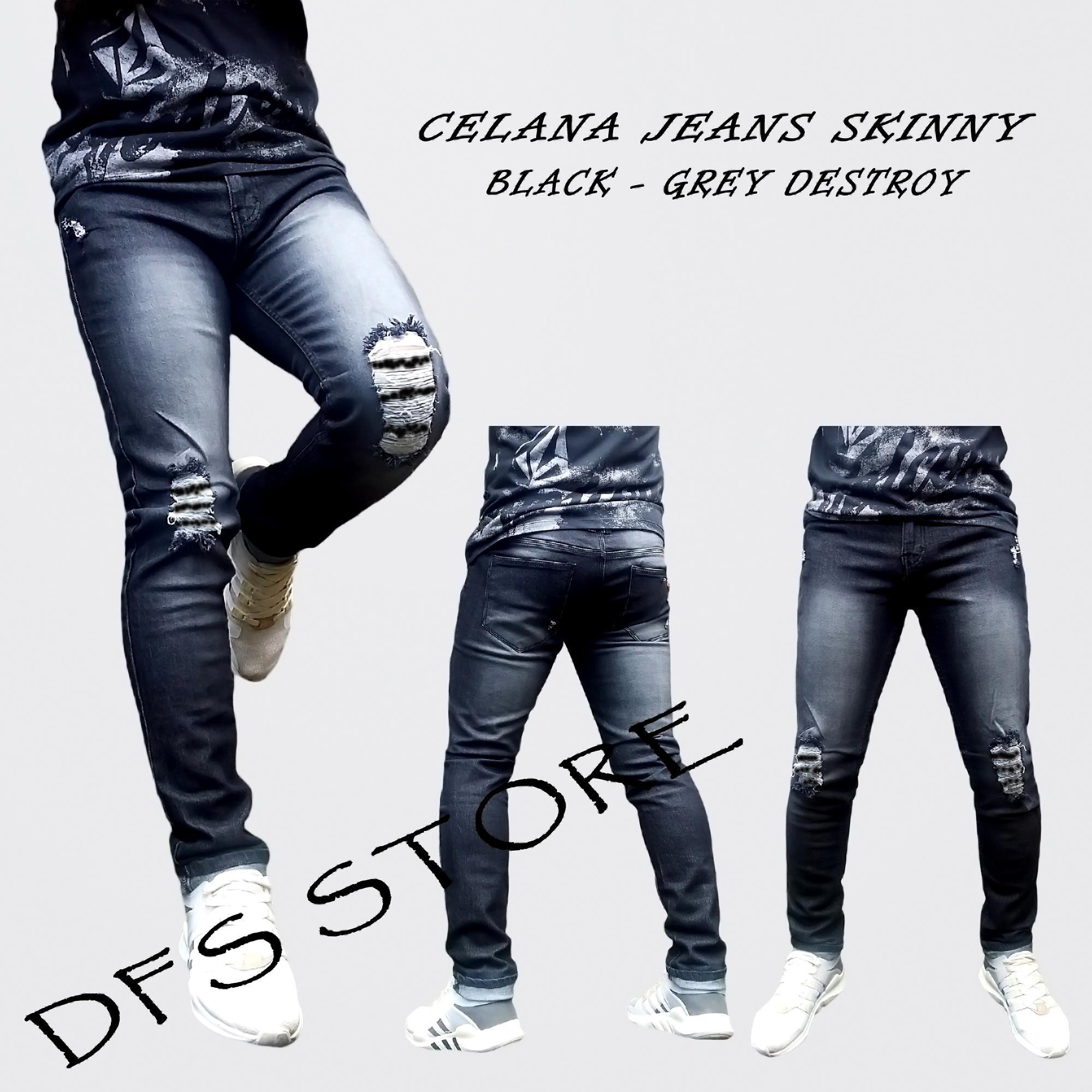 DFS - Celana jeans pria sobek skinny / slimfit / pensil pria