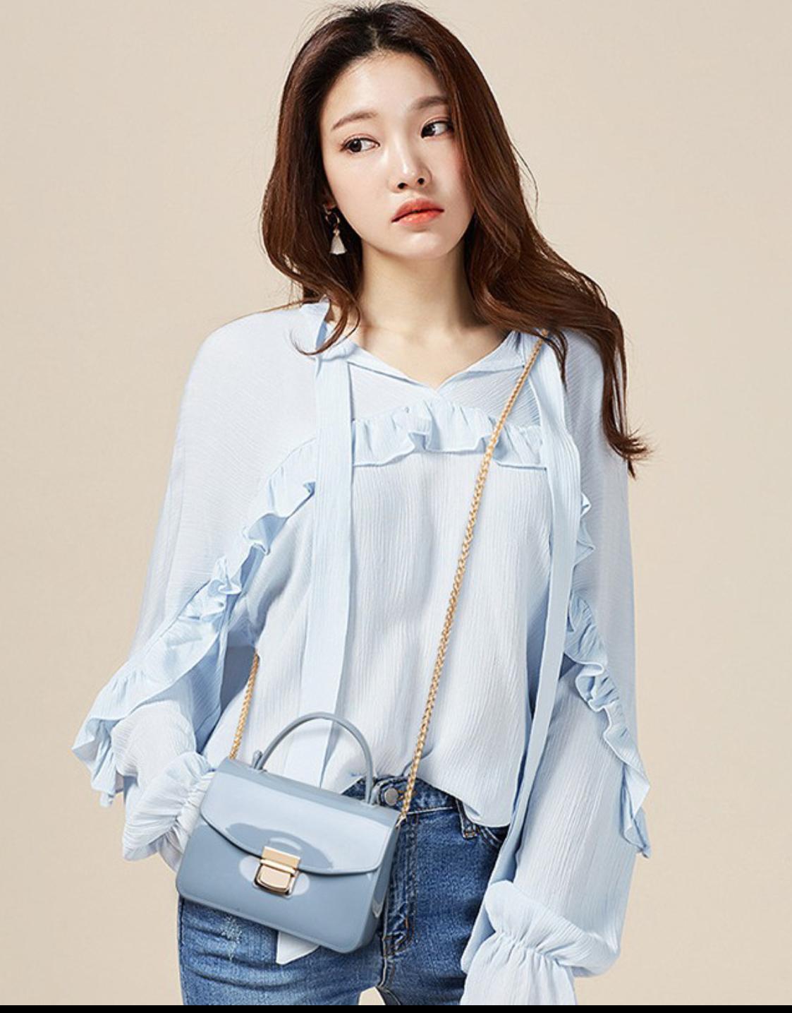 Tas Import Mini Sling Jelly Bag Wanita 17cm - Biru Muda