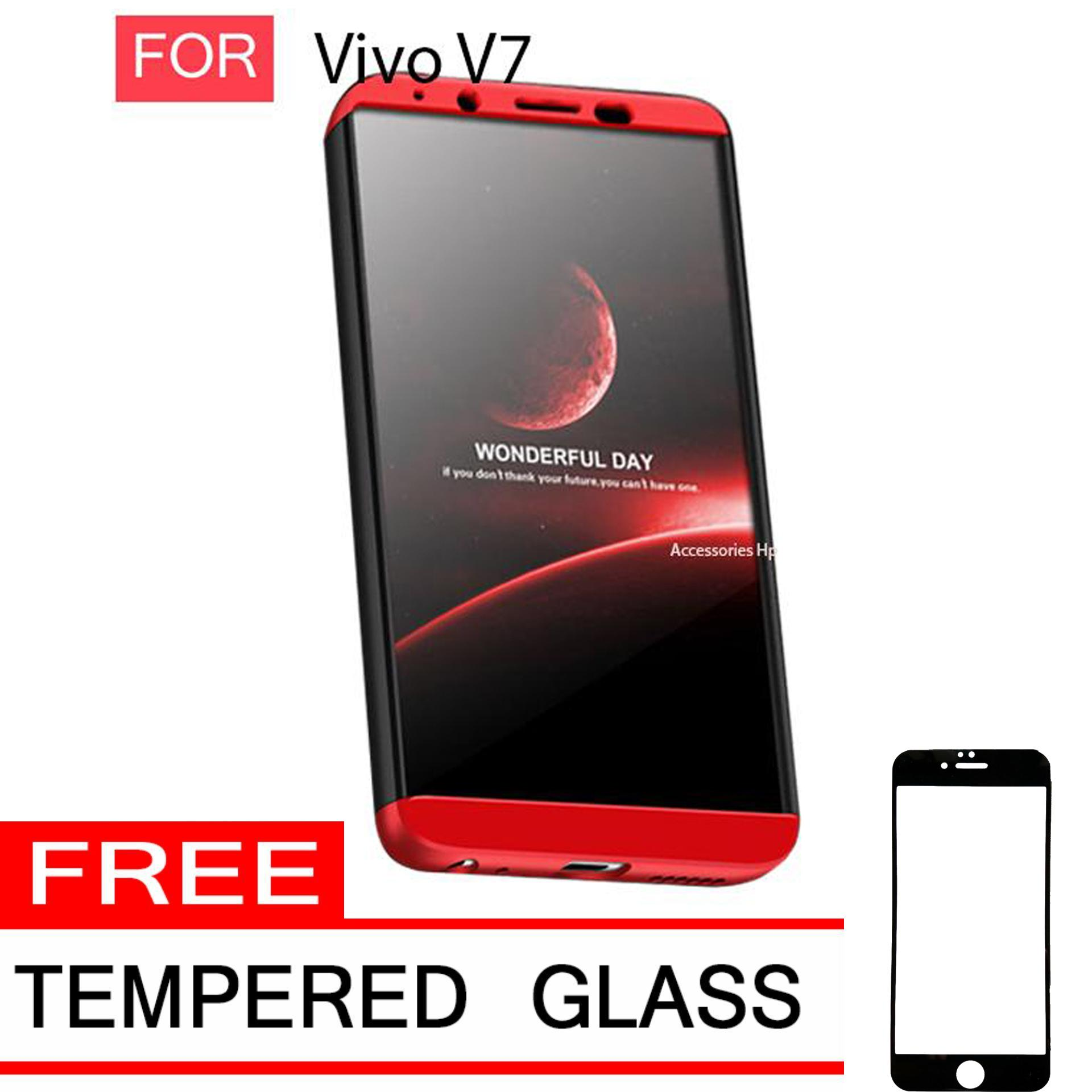 Accessories Hp CASE GKK Hardcase 360 Full Protective for Vivo V7 Free Tempered Glass Warna Black