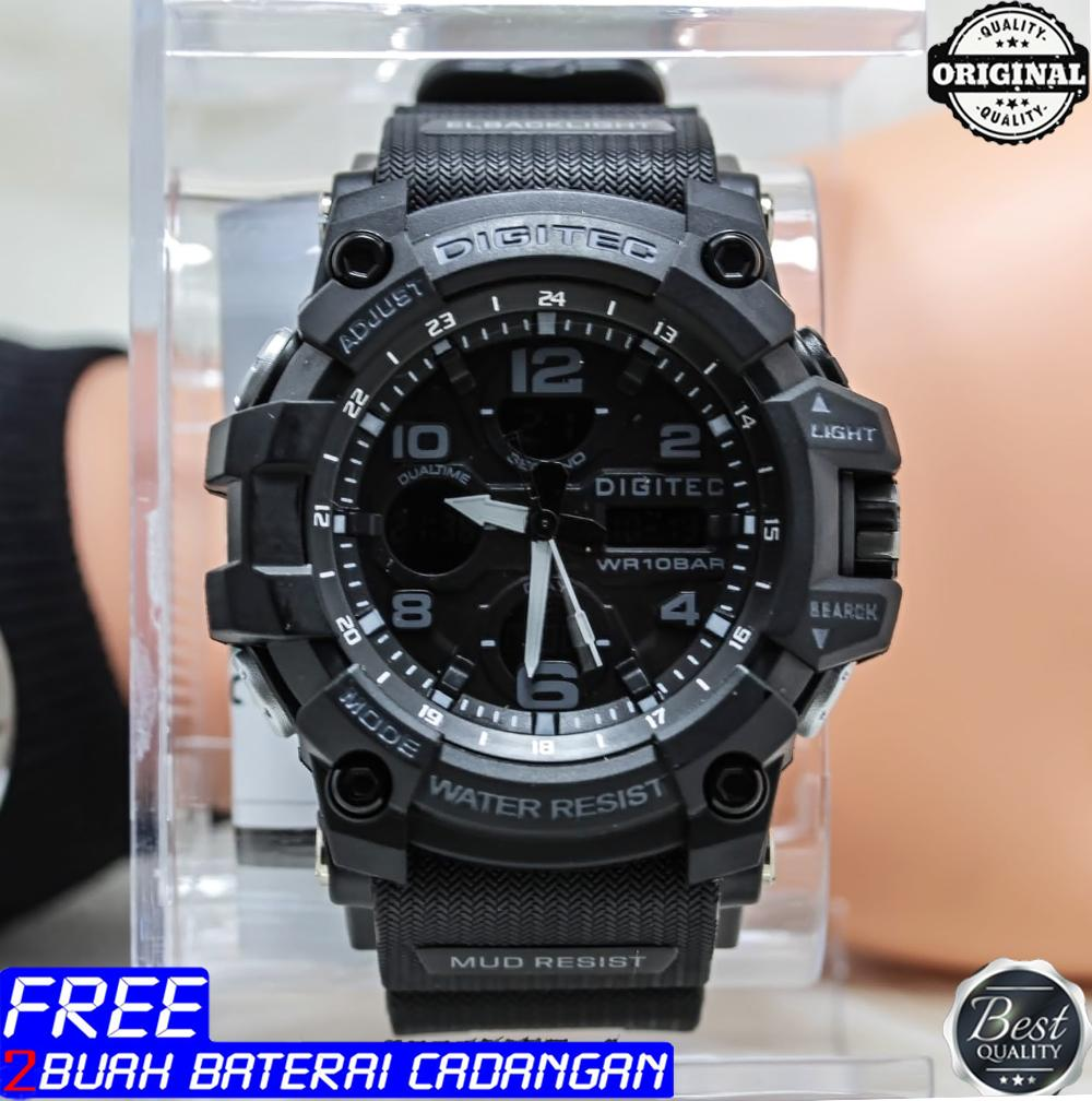 Digitec original - Jam tangan pria -Tali Karet - Double time - Water Resist