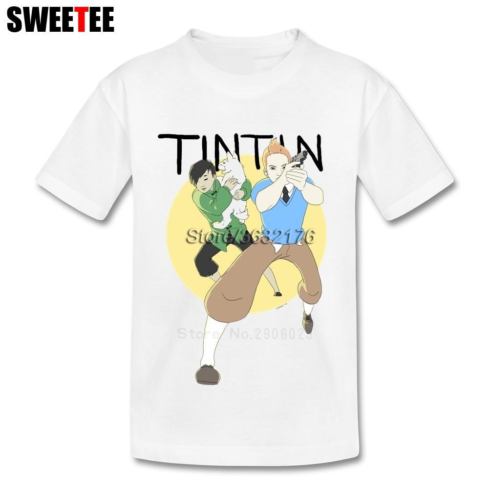 Anak Laki-laki Perempuan Petualangan Kaus Bayi Kaus Kaus 2018 Bayi Tintin Katun Kaus Anak Animasi Anak-anak Kaus untuk Balita-Internasional