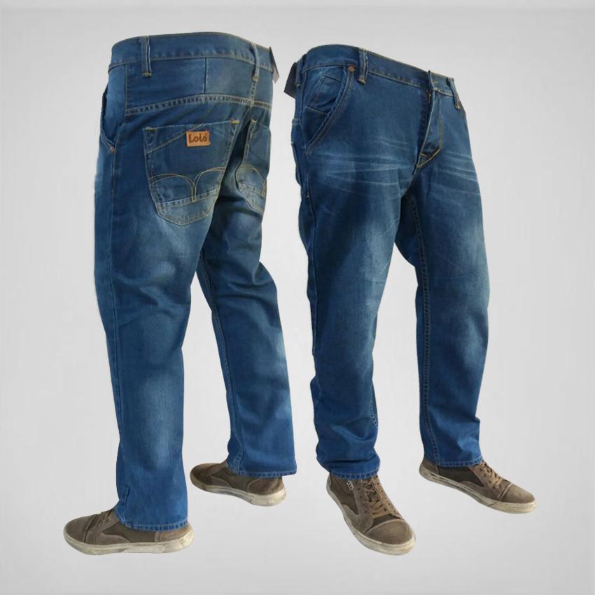 Celana Jeans pria Standard/Reguller/Basic/Lurus - Biru Wosh - Branded Best Seller