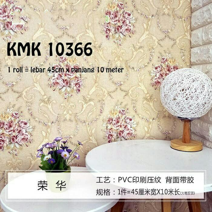 Wallpaper Sticker Dinding Batik Bunga Kream 10m x 45cm 95211deb6c