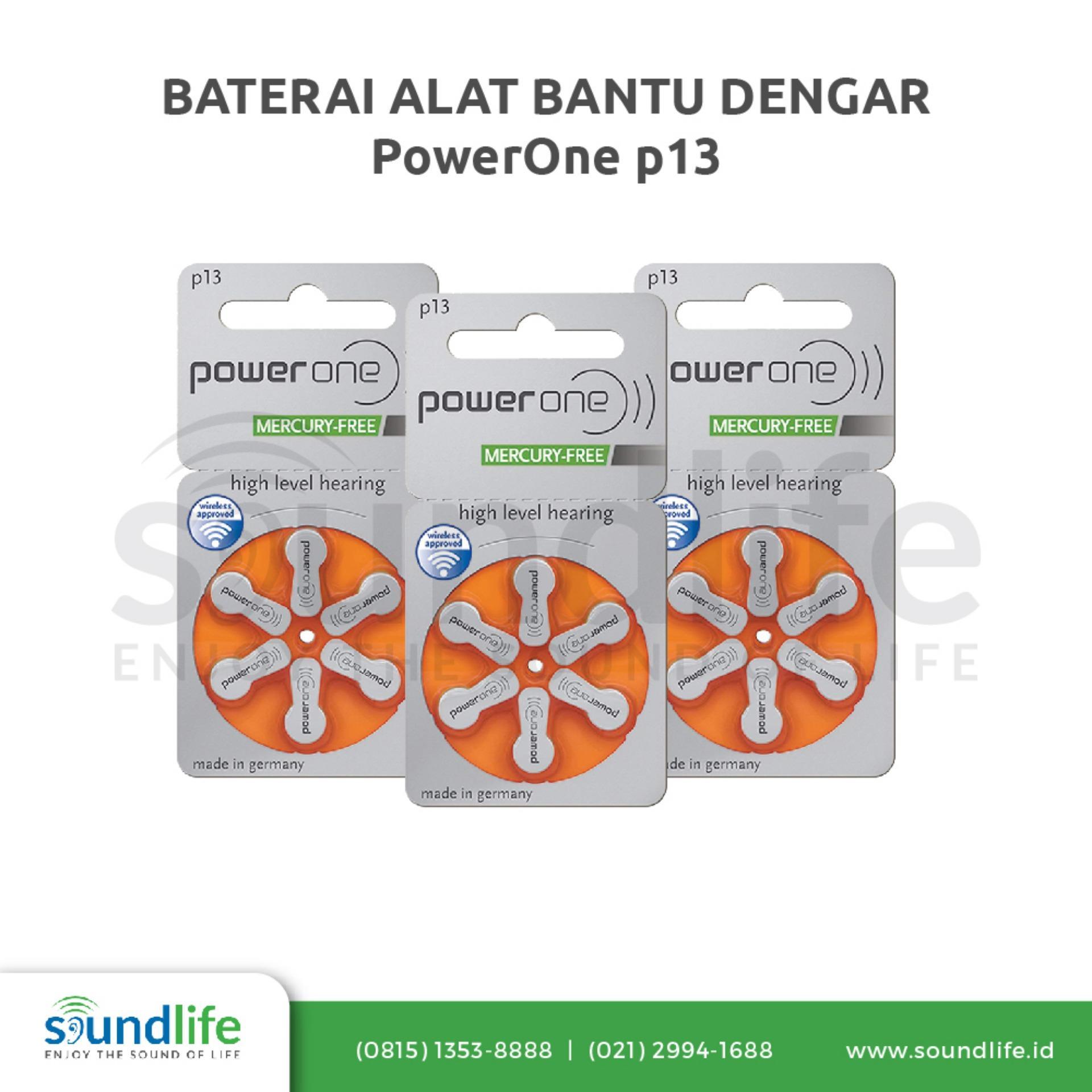 Baterai Alat Bantu Dengar PowerOne P13 Mercury-Free Hearing Aid Battery