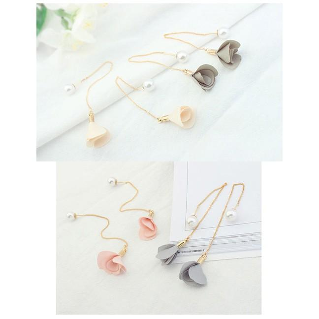 Anting Tusuk Elegant Flower&pearl Decorated Color Matching Simple Earrings