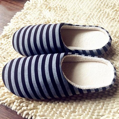 Broadfashion Wanita Pria musim dingin bergaris hangat lembut Anti Slip sepatu dalam ruangan rumah sandal