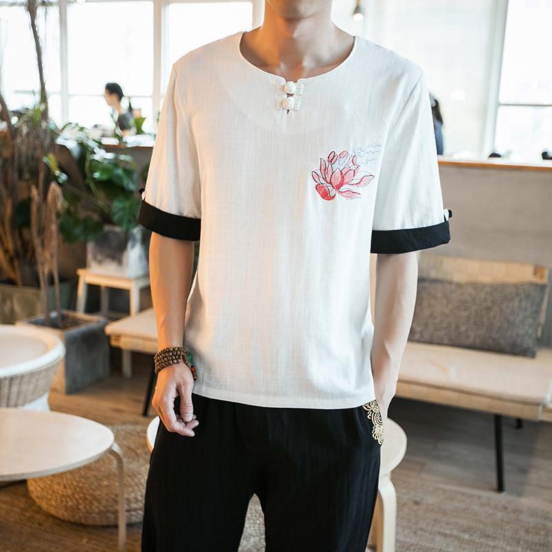 Oriental Style Kaos Bordir Musim Panas Pakaian Pria Lengan PendekIDR256300. Rp 256.300