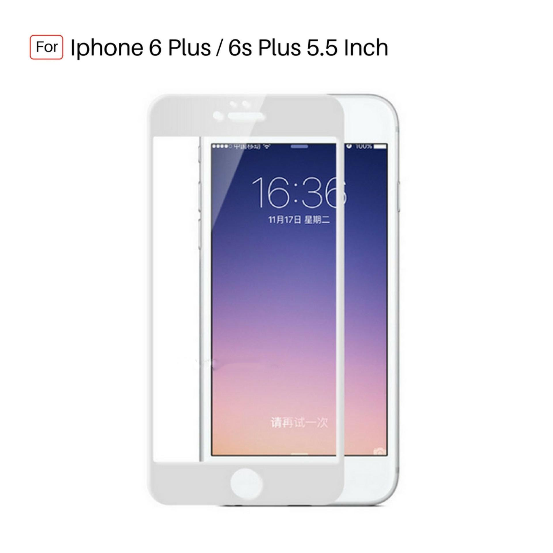 Tempered Glass Warna Full Corning Screen Protector For Iphone 6 Plus / 6s Plus 5.5 inch - White