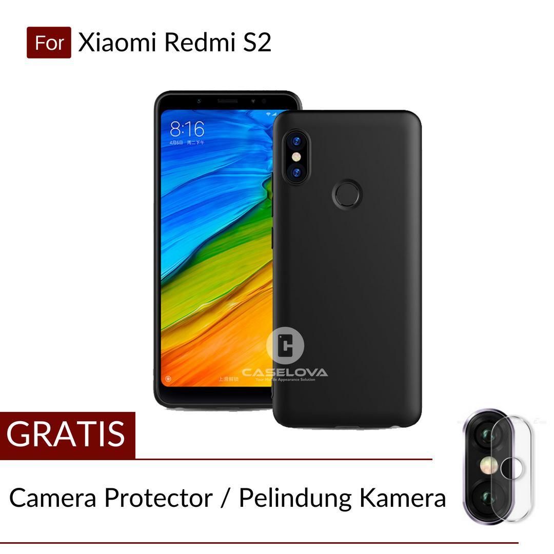 Poluca Case Xiaomi Redmi S2 ( 5.99 inch ) Slim Black Matte Babyskin Softcase Ultra Thin Jelly Silikon - Black + Gratis Camera Protector Pelindung Kamera