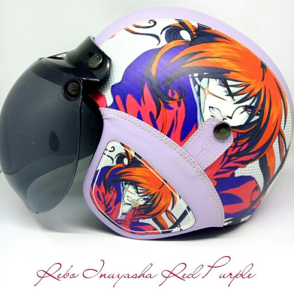 Helm Retro Kulit Klasik SNI Inuyasha Red Purple Kaca Bogo Ori