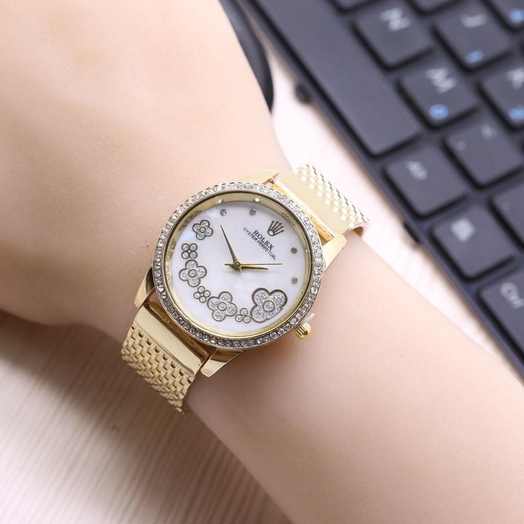 Jam Tangan Wanita / Cewek Murah Rolex Melati Rantai Gold