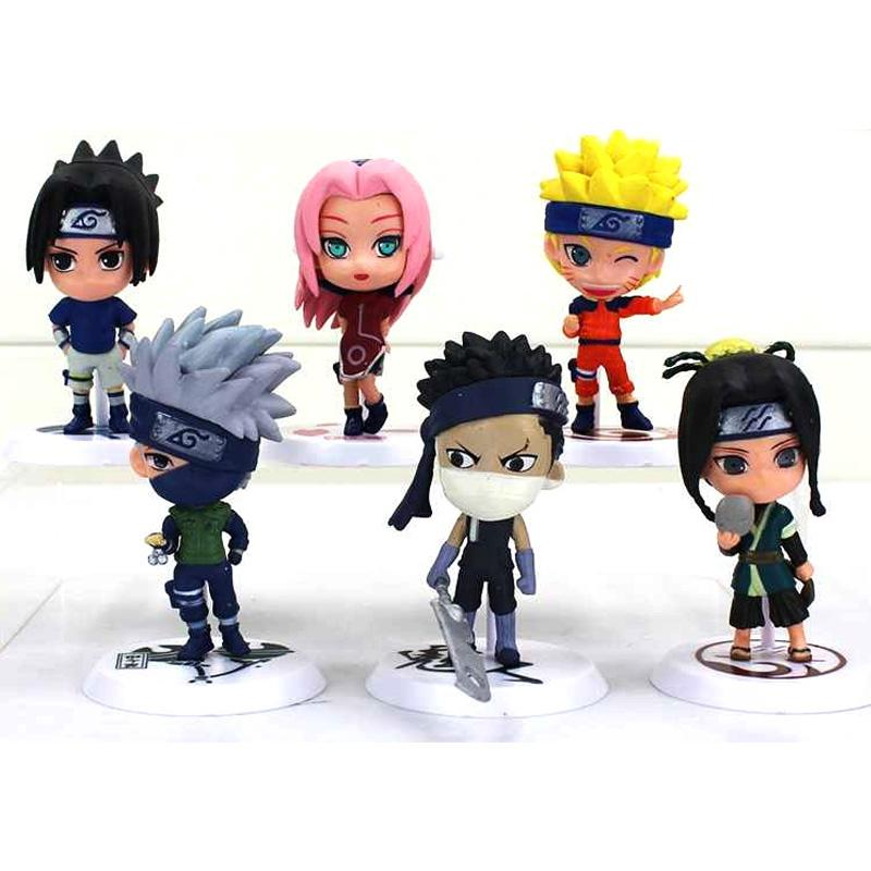 Action Figure Naruto 6 PCS Karakter Mainan Model 18 (Sasuke Killer Bee Gaara Itachi Naruto Tobi) Mini Cute Pajangan Hobby Hadiah Kado Ulang Tahun Birthday Gift Hobi Koleksi 7-8cm Kartun Cartoon Anime Kids Toys Soft PVC Material s1883 - Multicolor
