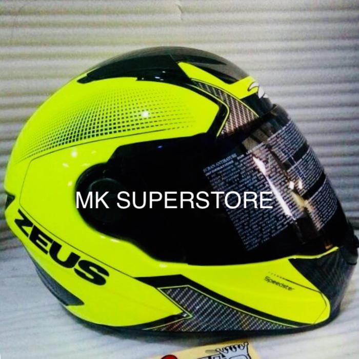 ((PROMO)) ZEUS 811 FLUO YELLOW AL6 BLACK WITH DARK VISOR M L XL helm