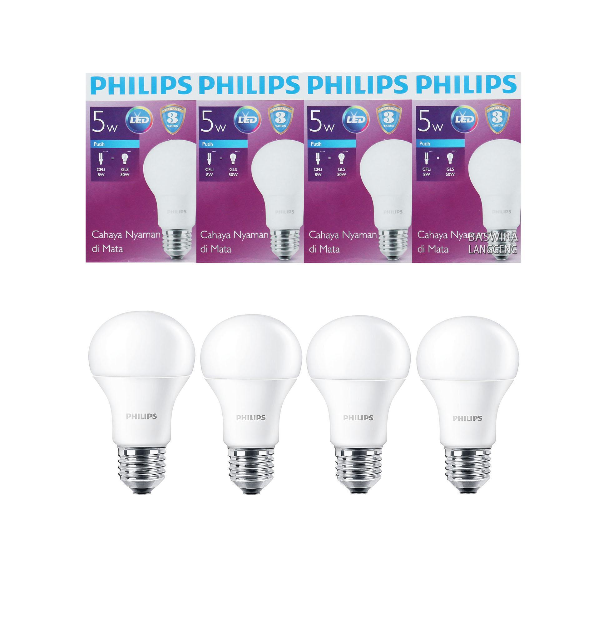 Jual Lampu Bohlam Philips Led Bulb 13 Watt 6500k Paket 3 Gratis 1 5 Wat W 5watt 5w 4 Pcs Putih