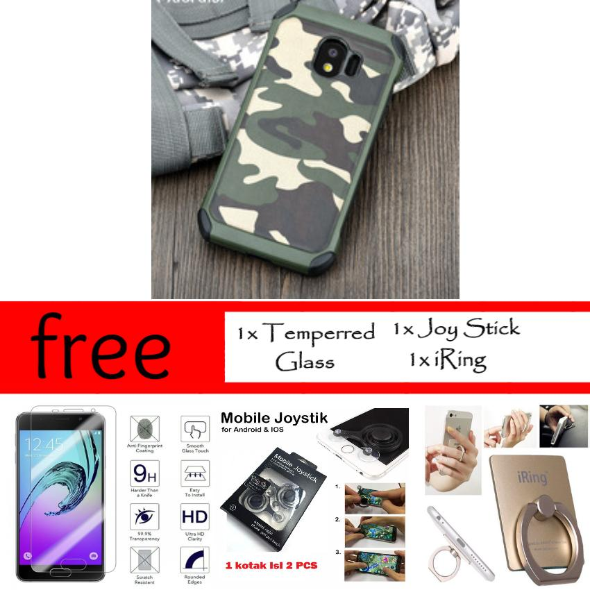 Mouzel Case Army For Samsung Galaxy J2 Pro 2018 Free Joy Stick + iRing + Temperred Glass