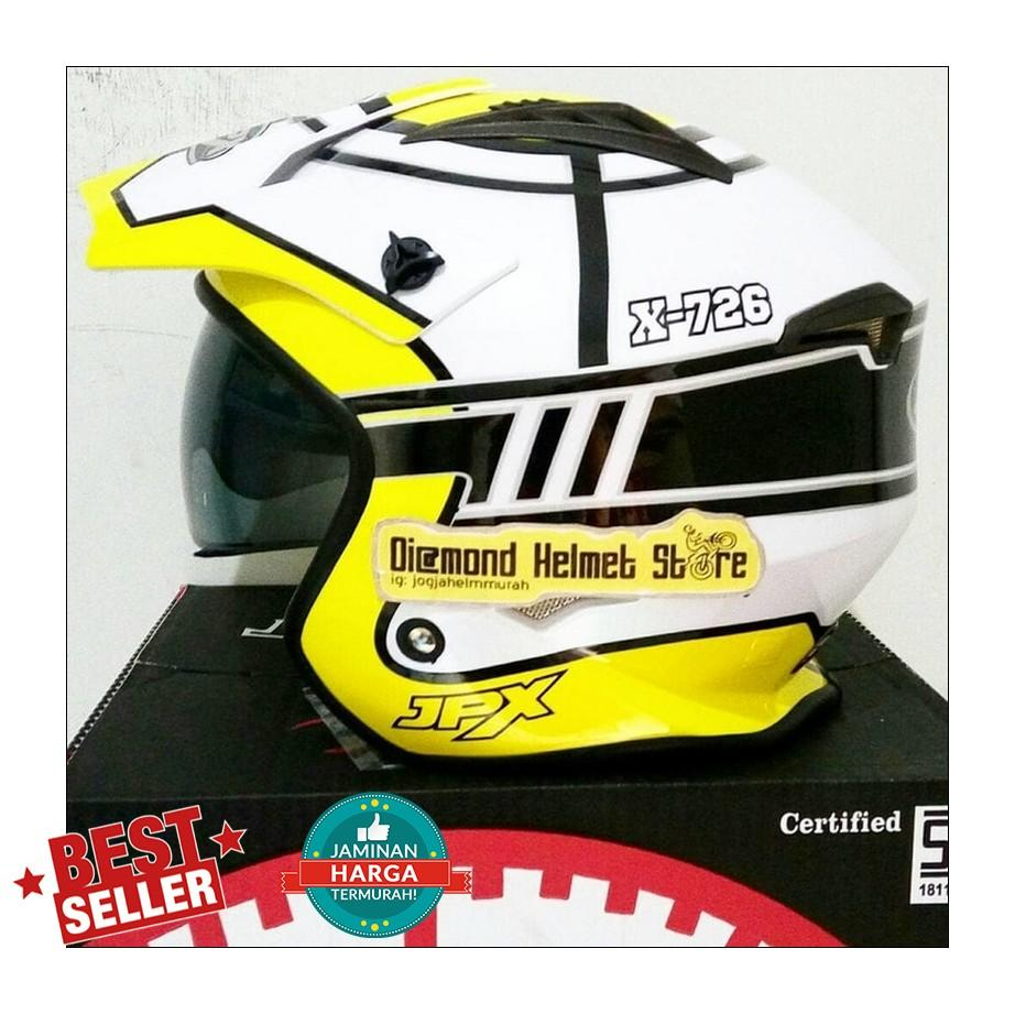 Helm JPX MX 726 motif Target Yellow White mirip Airoh Trr S