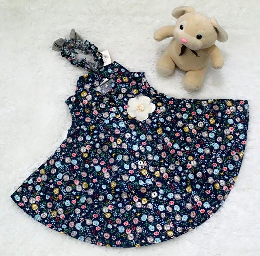 All Size 3-12 Bulan / Dress Baju Bayi Anak - Dress Flower With Headband