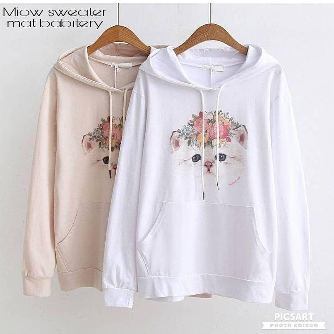 "Rp 80.000 Sweater&Jaket ""SF MEOW"" Lucu Untuk Wanita Bahan Fleece Babyterry Kanvas Jeans Santai Murah Keren Trendy Fashionable 2018IDR80000"