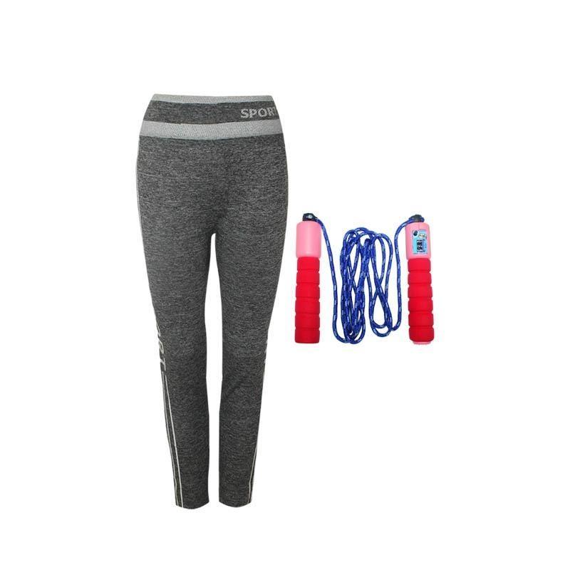 EELIC CLJ-022319 MIX PUTIH-PINKCelana Leging Sport 0022 Motif Garis Putih + JUR- KY319 Skipping Jump Rope Lompat Tali With Counter