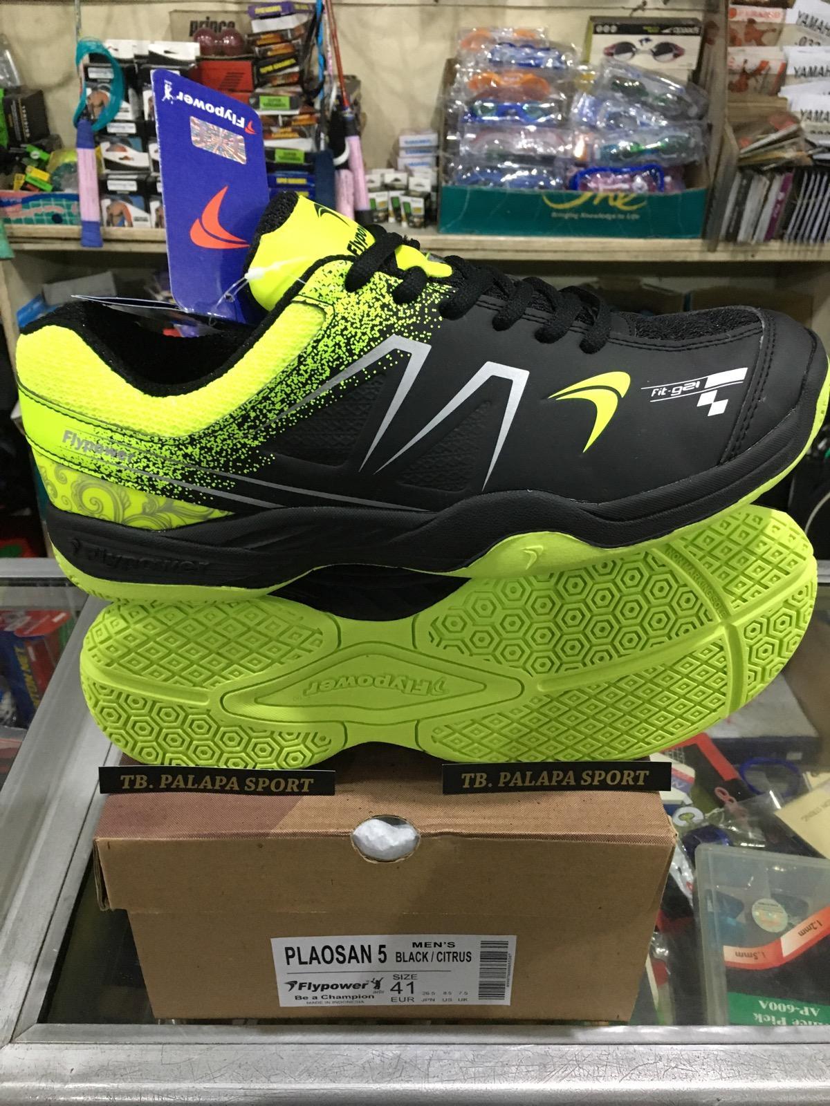 Flypower PLAOSAN 5 Sepatu Badminton Black Citrus