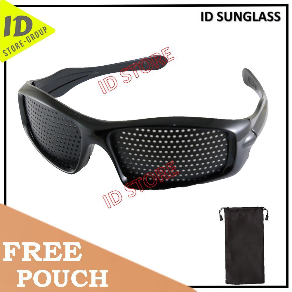 ID Sunglass - Pinhole Terapi Pria Wanita Frame - Hitam Lensa - Hitam  SUN 1035-07