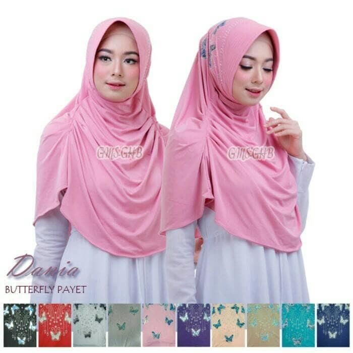 Jual Jilbab Hijab Instan Dania Butterfly Payet Premium Murah
