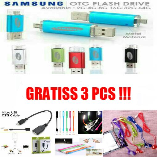 Flashdisk 64 GB [ Flashdisk Samsung OTG ] Free Kabel OTG + Lampu LED + Hansfree Music Angel