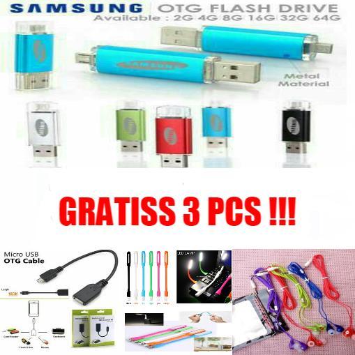 Flashdisk 64 GB [ Flashdisk Samsung OTG ] Free Kabel OTG + Lampu LED + Hansfree Music Angel