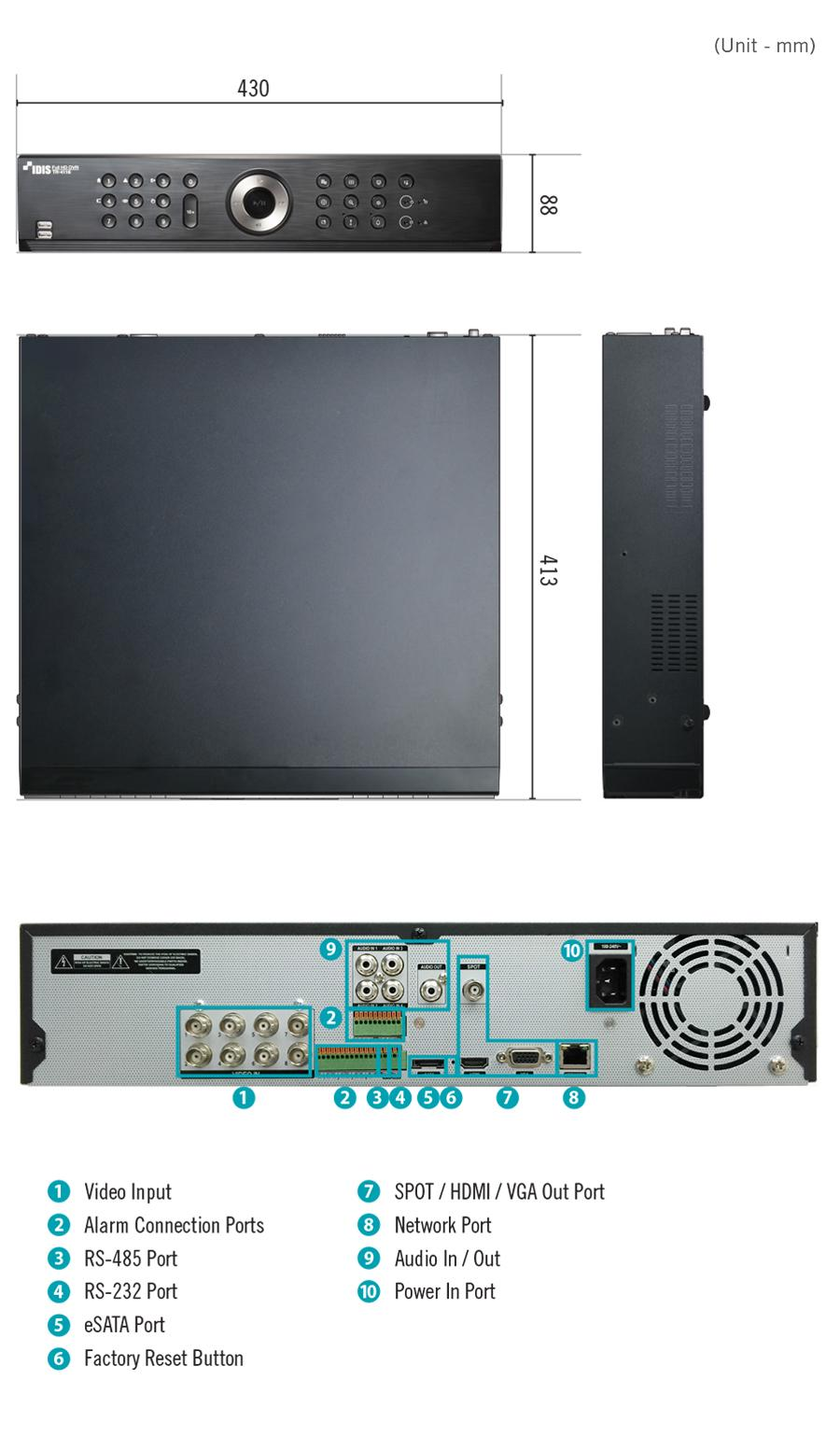 IDIS DVR TR-4308 DirectCX 8channel Recorder