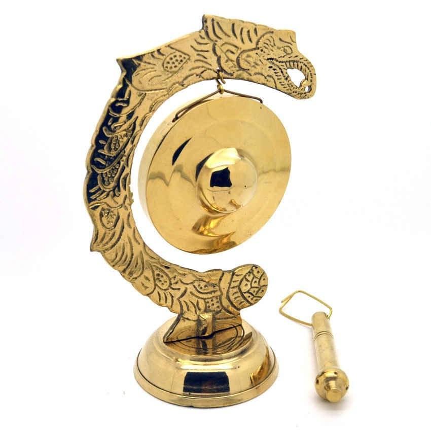 Kerajinan Miniatur Gamelan Gong Kuningan 15x10x6cm Emas