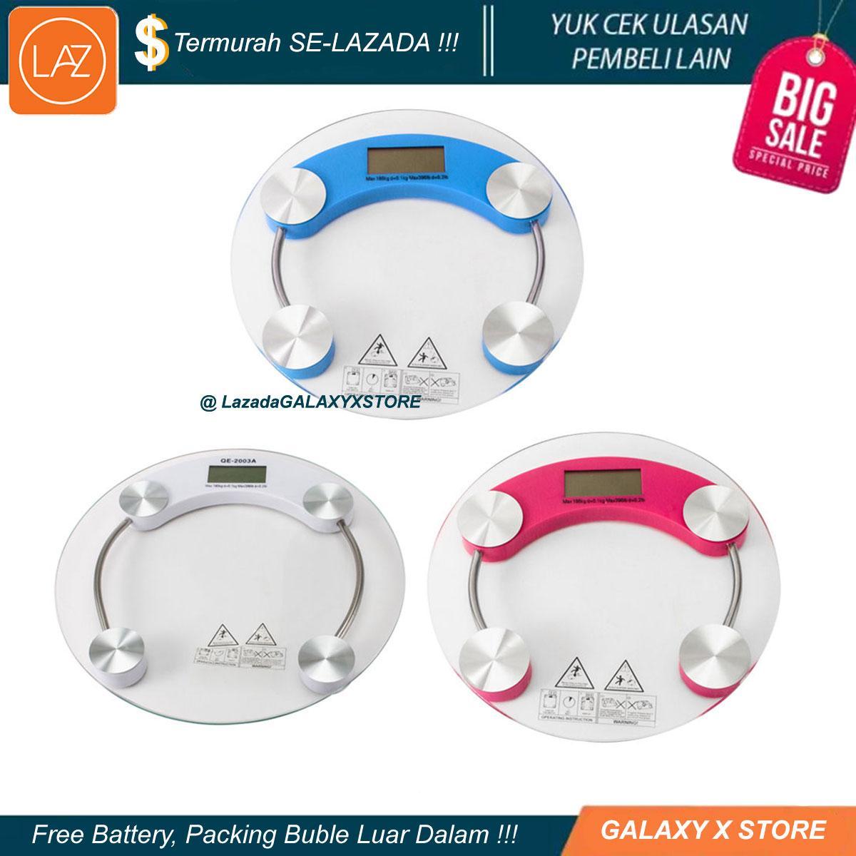 Harga Timbangan Digital Personal Scale Termurah Obat Kuat Badan Max 180kg Diameter Jumbo 33cm Circle Warna Bulat Bundar Tempered Glass