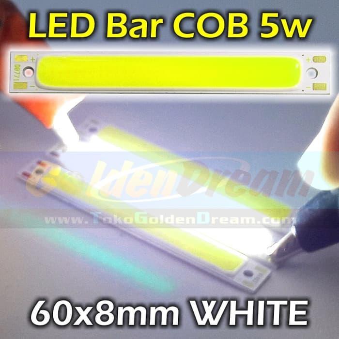 PUTIH - LED Bar COB 5w Strip 60x8mm Lampu Batang Petak Persegi White