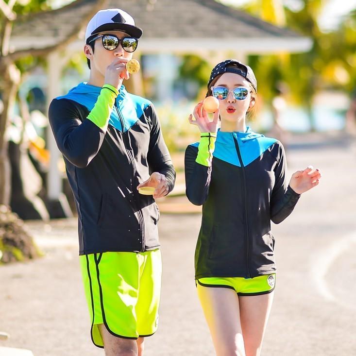 Beberapa Baju Selam Pakaian Renang Perempuan Snorkeling Pria Terpisah (Model Wanita 4Pcs/Set)