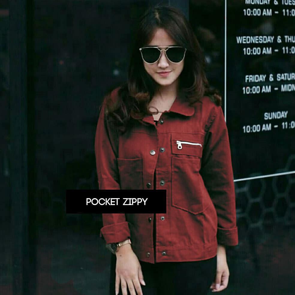 Pocket Zippy Jacket - Jaket Cewe   Jaket Wanita a57f98002e