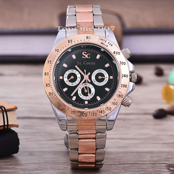 Saint Costie Jam Tangan Pria-SC-RX-007A-G-Dyt-Rose-Black Dial-Stainless Stell Band